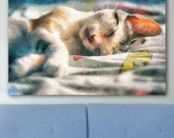 Sleepy cat Cat canvas painting Cat artwork Cute cat painting Cat face Cute cat wall art Cat lover canvas Cat lady gift Cat art print