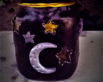 Polymer clay Vessel /Stars/ Moon/ Tealight/ Night lovers