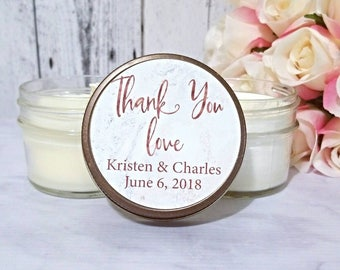 Wedding Candle Favors - Marble Wedding Favor - Personalized Wedding Favors Candles - Wedding Favors for Guests - Wedding Candles - Set of 12
