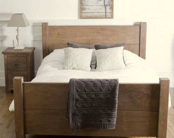 Rustic Chunky Wood Bed - Available in Various Sizes