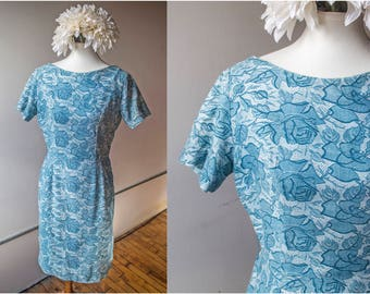 Vintage 1950s Blue Rose Sheath Wiggle Dress  - Size Large - Kay Windsor