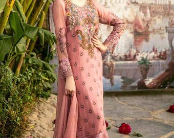 Coir Embroidered Chiffon 3 Piece Suit - Luxury Collection