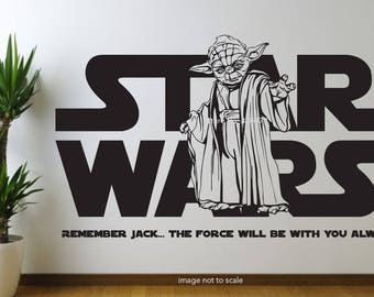 Personalised Star Wars Wall Decal Any Name Wall Decal, Wall Sticker,  Nursery, Childrens Part 84
