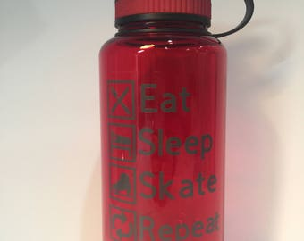 Eat, Sleep, Skate, Repeat Tumbler: Figure Skater Water Bottle, Ice Skating Bottle
