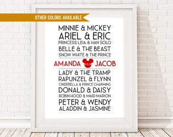 CUSTOM Disney Couples Sign - PERSONALIZED Disney  - Couples Names - Unframed 11x14 Home Decor Poster Sign - Wedding Anniversary Valentine's