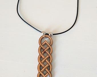 Celtic Knot pendant, laser cut from solid alder wood