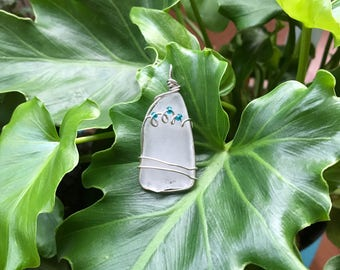 The Waves, Hawaiian sea glass, pendant, handmade, unique, hawaiian jewelry, cute