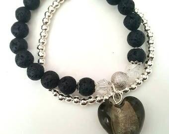 Double strand stretch bracelet with Lava beads