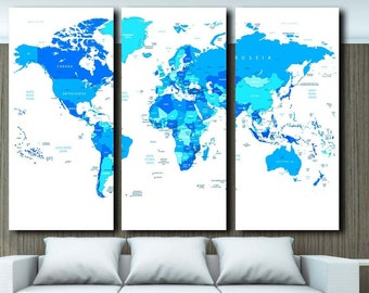 Extra large huge map etsy large map canvas huge world map canvas wall art map map canvas art sciox Images