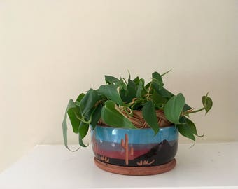Vintage Superstition Stoneware Planter with Desert Sunset Motif / Retro Ceramic Planter / Southwestern Painted Pot