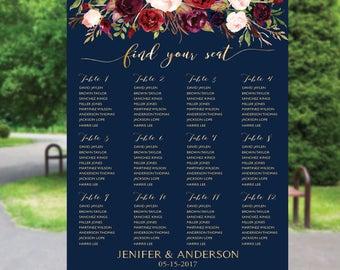 Wedding Seating Chart Template, Wedding Seating Chart, Boho wedding seating chart, Seating chart Navy, Wedding seating chart template, S88