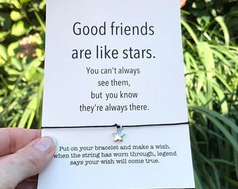 Friendship bracelet, Best friend bracelet, Wish bracelet, BFF bracelet, Good friends are like stars, Birthday gift, Best friend gift, A5