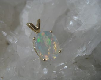 Ethiopian Welo Opal, Opal Pendant, Welo Opal Necklace, Opal Silver, Gold Plated, October Birthstone, Gemstone Necklace, Gift for Women, Love