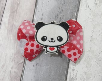 Valentines Panda Heart Dog Bow Tie, Dog clothing, Doggy Bow Tie, Puppy Bow Tie, Detachable Bow Tie, Slip on bow tie