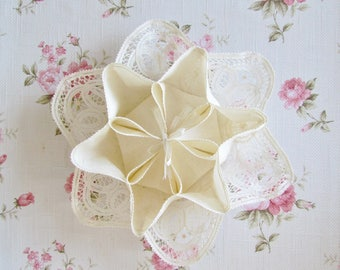 French bread basket - Luxeuil lace - cotton