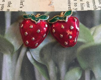 vintage summer strawberry stud