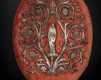 "16"" Beautiful Antique Virgin Mary Silver Plated Bronze Wall Icon Madonna Red Velvet"