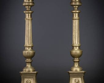 "14"" Pair French Antique Gilded Brass Candlesticks Gilt Baroque Candle Holders"