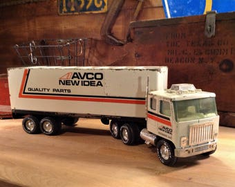 Nylint Truck, NYLINT AVCO New Idea Tractor Trailer Truck GMC, Vintage Nylint Toys, Pressed Steel Toy Trucks, Nylint Cab Over Semi Truck Toy