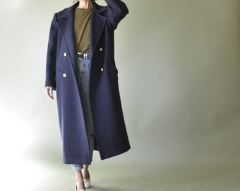 80s union made navy wool double breasted winter coat // size xs-l