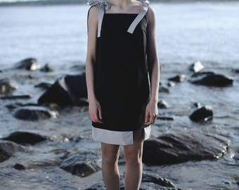 Black + grey sleeveless dress