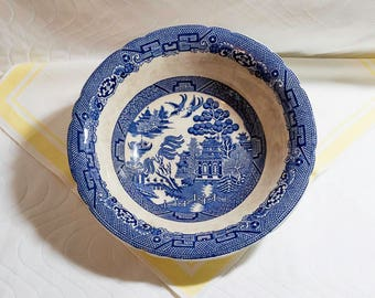 "Vintage Allertons English China Blue Willow Round Serving Bowl, 10"" Diameter, Scalloped Edge"