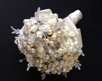 Swarovski Crystal and Pearl Bridal Bouquet and Matching Buttonhole