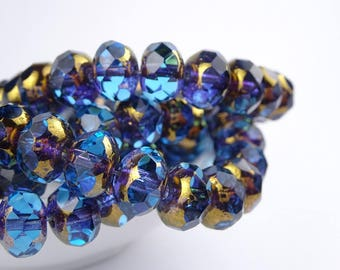 Czech glass beads-round elle beads-9x6mm-blue Purple Gold Transparant-10 pcs
