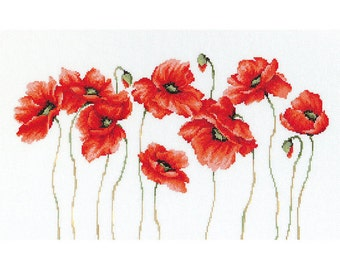 Red Poppies Embroidery Kit// Cross Stitch Poppy Kit// Bright Poppies Kit// Red Poppies Kit// Poppies Composition Kit// Red Poppies Decor