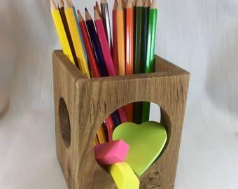 Oak Circle Pen Pot, Pencil holder, Desk Tidy