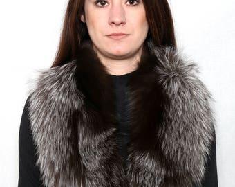 Real Natural Silver  Fox Fur Collar