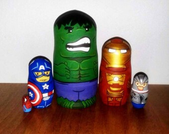 Avengers heroes-Incredible Hulk-Iron Man-Thor-Captain America-Ant-Man-Marvels Super Hero-Nesting Dolls-Toys for kids-Set of 5 nesting dolls