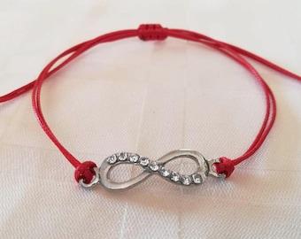 Shamballa Bracelet, Infinity Bracelet, Red String Bracelet, Kabbalah, Infinity Piece With Crystals, Silver Charm, Adjustable,Amulet,Shambala