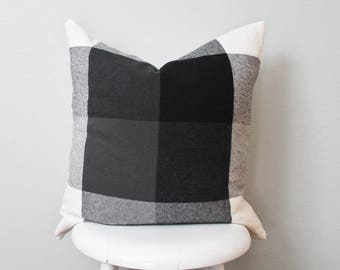 Black and white plaid Flannel pillow cover