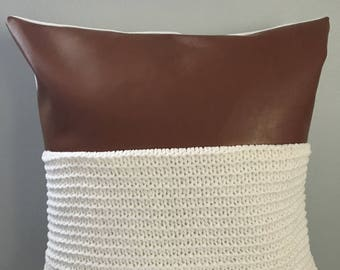 Modern Faux leather/ sweater knit accent pillow