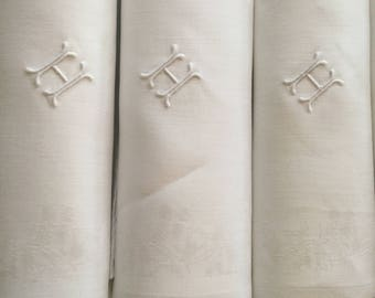 "Damask Linen Napkins 8 White H Monogram LARGE Cloth Lap Dinner Napkin Set  26 1/2"" x 28"" Square Thistle Pattern Vintage Table Linens"