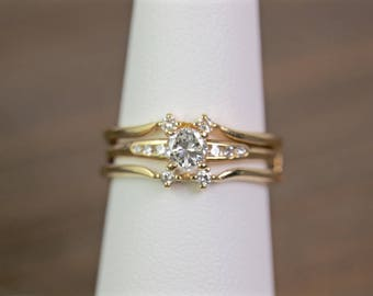 Diamond engagement ring and ring guard set