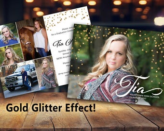 Gold Glitter Graduation Invitation Photo Announcement, Party Invitation, Six Photo Custom Printable file or Printed Cards, 5x7 - 2 sides