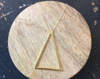 Triangle Charm Necklace | Minimalist necklace | 14k gold filled necklace | dainty necklace