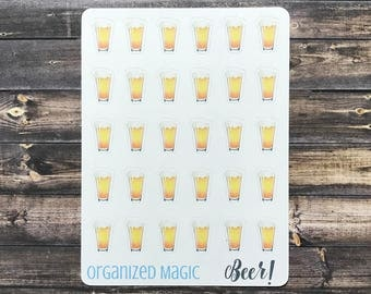 Beer planner stickers, drink planner stickers, alcohol planner stickers, date night planner stickers