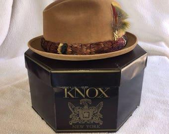 Vintage 1950s Knox Fedora Sz 7 3/8 with original box EUC // Real Feather Detail