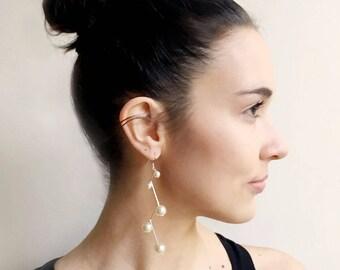 Pearl drop earrings, silver earrings, pearl stud earring, bridesmaid earrings, wedding earrings, prom earrings, pearl earrings