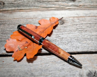 Handmade Wood Premium Cigar Double Twist Pen - Australian Red Mallee Burl - Titanium Finish