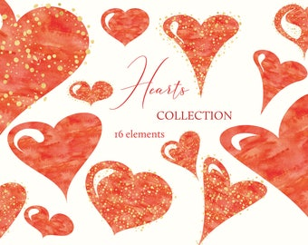 Heart Clipart, Digital Heart Clipart, Red Gold Heart Clipart, Heart Labels, Christmas Hearts Clip Art, Love Clipart, Valentine Clipart H001