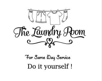 Laundry Room Vinyl Decal 8x8 Inches - fits nicely on Ikea Ribba Box Frame