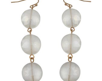 Frosted glass drop earrings