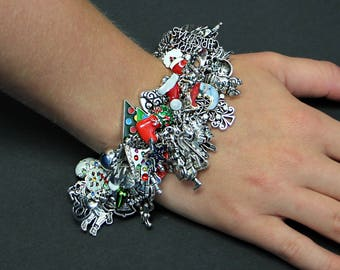Christmas Charm Bracelet Over 60 Charms  Full Ugly Christmas Jewelry