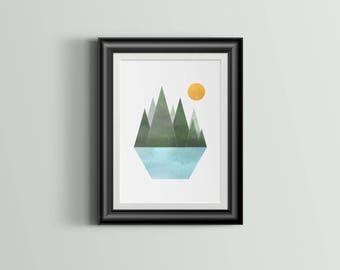 Nature   Abstract   Minimal   Geometric   Landscape   Art Print