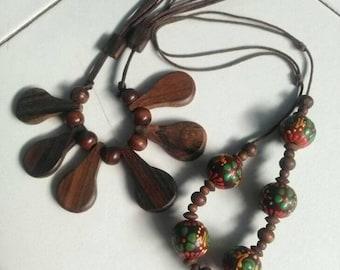 2 unique wooden necklaces