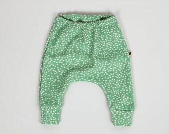 Harem pants, mint spots, organic baby clothes, toddler clothes, gift for baby, gift for toddler